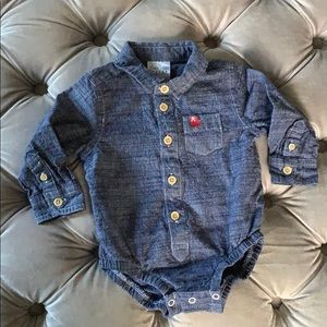 Baby Bum Chambray Dress Shirt Onesie (9-12 months)